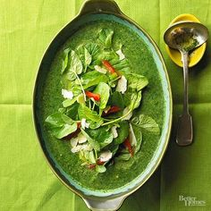 Fresh emerald spinach brings the brilliance of a spring day to this light and healthful soup. Its Italian accent comes from herbs, garlic, and shallots, plus a sprinkling of shaved Parmesan cheese at serving./