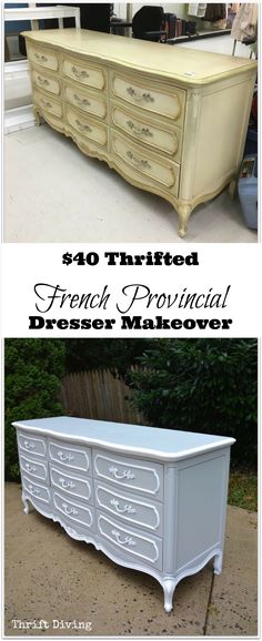 $40 Thrifted French Provincial Dresser Makeover | Thrift Diving