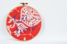 Framed Hoop Embroidery Tea Time Denim Blue by merriweathercouncil