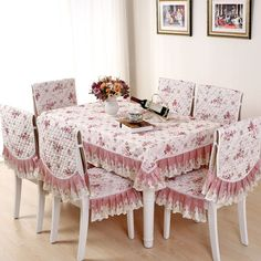 Jacquard Rectangular Quilted Tablecloth Romantic Lace Floral Dining Table Cloth Chair Cover Cushion Manteles Para Mesa YW029