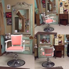 My GLAMOROUS new salon chair. My daughter named her Aurora, which is very appropriate. She now sits graciously at my station in Bella La Vita Salon Spa located in Covington, Tn. I LOVE VINTAGE!! I simply love my career AND my salon! Its perfect!!!(for me)