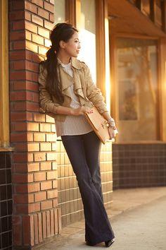 Jacket: Theory. Blouse: A.P.C. Jeans: J Brand. Bag: homemade. Shoes: Christian Louboutin. Accessories: Forever 21 bangle, J.Crew bracelet, David Yurman ring, Stella & Dot bracelet, MICHELE watch.