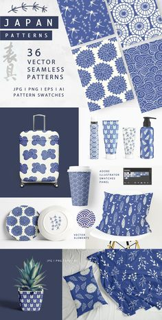 36 Japanese Seamless Vector Patterns by Katrinelly on Japan inspired seamless vector patters can be used in your product, print, textile, merchandise designs. From Creative Market. Graphic Patterns, Textile Patterns, Textile Prints, Textile Pattern Design, Pattern Print, Japanese Patterns, Japanese Design, Japanese Textiles, Cadeau Grand Parents