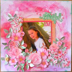 Cherry Blossom Collection by Kaisercraft -Adriana Bolzon Design Team Member 'So Beautiful' Layout - Wendy Schultz ~ Scrapbook Pages Scrapbook Blog, Scrapbook Pages, Scrapbooking Layouts, Quilling Flowers, Paper Flowers, Craftwork Cards, Image Layout, Clear Stickers, My Sunshine