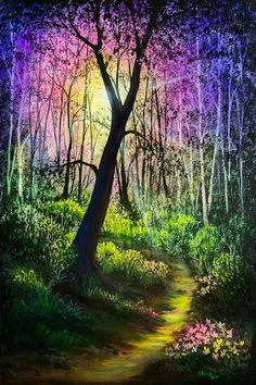 Enchanted Forest, Forest Art, Bob Ross Paintings, Fine Art America, Painting, Forest Pictures, Fairy Artwork, Forest Mural, Forest Painting