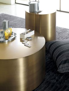 milo baughman drum coffee table bronze | design within reach