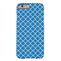 Bright Blue Quatrefoil Pattern Barely There iPhone 6 Case