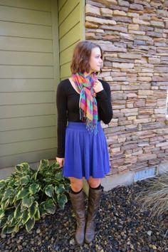 High-waisted skirt and boots, bright plain scarf and argyle knee socks