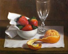 """Strawberries and Peeled Orange"" - Original Fine Art for Sale - © Debra Becks Cooper"
