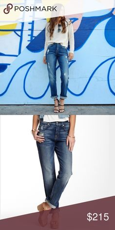 """7FAM 1984 boyfriend jean - Zip fly with button closure - 5 pocket construction - Whiskering and fading - Distressed details - Boyfriend fit - Approx. 9"""" rise, 30"""" inseam - Made in USA 98% cotton, 2% spandex. 2nd pic is exact jean. Used good condition 7 For All Mankind Jeans Boyfriend"""