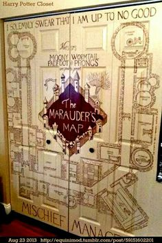 The maruader's map closet is very cool and I would love to have my very own but I dont think it would match my room. I do think the person that painted this on their closet doors are very talented.