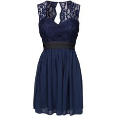 Elise Ryan Lace Top Chiffon Dress ($77) ❤ liked on Polyvore featuring dresses, navy, party dresses, womens-fashion, blue chiffon dress, navy lace cocktail dress, chiffon dress, lace chiffon dress and navy blue dress