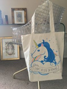 """""""I Don't Believe In Humans"""" White Cotton Tote Bag"""