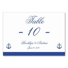 Nautical Wedding Place Cards Table Cards