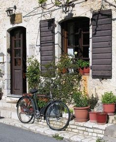 Bike in Dimitsana, Arkadia, Greece in Front of Old Stone Building Mykonos, Santorini, The Places Youll Go, Great Places, Places To See, Beautiful World, Beautiful Places, Beautiful Scenery, Greek Islands