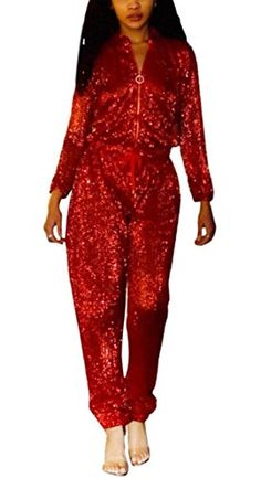 3bf324f24b5c Women s Sexy V Neck Long Sleeve Sequin Jumpsuit Party Clubwear Romper