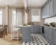 серая кухня брусовой дом: 2 тыс изображений найдено в Яндекс.Картинках Log Homes, Kitchen Island, Kitchen Decor, Sweet Home, Dining Room, Cottage, Table, House, Furniture