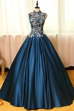Vintage prom dress, ball gown, elegant blue satin + lace appliques long dress for prom 2017