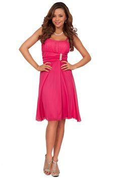 Women's Formal Chiffon Sparkle Straight Neck Spaghetti Strap Knee Length Dress at Amazon Women's Clothing store: