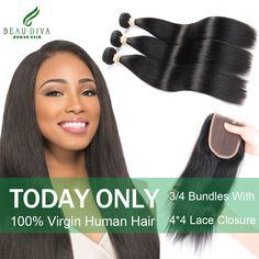 Peruvian Virgin Hair With Closure 3/4 Bundles with closure Peruvian Straight Hair With Closure 4*4 lace Human Hair With Closure