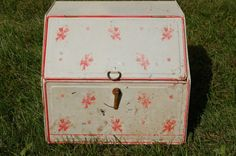 Retro Two Tier Metal Bread Box, Mid Century Pie Tin, Vintage Ivory and Pink Decorated Bin - SOLD!