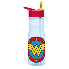 Designs Tritan Water Bottle with Flip-Up Spout and Straw featuring Wonder Woman Graphics, Break-resistant and BPA-free plastic, 25 oz.
