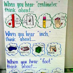 My measurement anchor chart! Teaching Measurement, Teaching Math, Measurement Activities, Fourth Grade Math, Second Grade Math, Grade 2, Math Charts, Math Anchor Charts, Fun Math