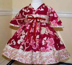 Kyoko style dress in Joel dewberry modern meadow berry for girl, toddler and infants. $40.00, via Etsy.