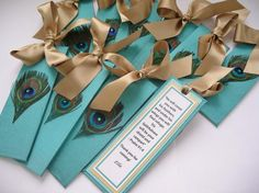 Custom Peacock Wedding Bookmark Favors. | Made on Hatch.co by independent wedding designers and makers.