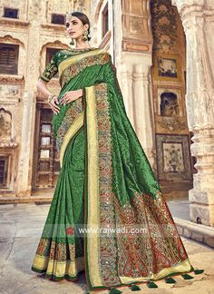 Shop Festive wear green banarasi silk saree online from India. Indian Clothes Online, Indian Sarees Online, Silk Sarees Online, Fancy Sarees, Party Wear Sarees, Saree Shopping, Green Saree, Work Sarees, Banarasi Sarees
