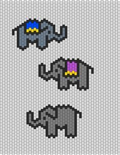 Small Elephants bead pattern