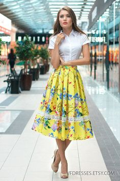"""Long  Yellow floral Skirt. Midi Skirt with floral print from the collection """"Azhur""""   Very beautyful and trend design! Long skirt with box pleats.  lace trimmed. The skirt ... #dresses #summer #eveningdress #fashion #vogue #handmade #etsy #gowns #skirts #vintage"""