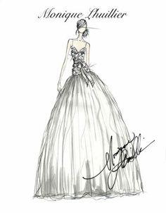 Tendencias en vestidos de novia 2011. Boceto Monique Lhuillier. #bocetos #novias #moda #vestidos