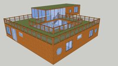 Large preview of 3D Model of Shipping Container House with Courtyard