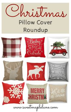 Christmas Pillow Cover Roundup from Sweet Maple Lane Christmas Cushions, Christmas Pillow Covers, Christmas Cover, Country Farmhouse Decor, Farmhouse Style Decorating, Christmas Crafts, Christmas Decorations, Christmas Ideas, Fall Pillows