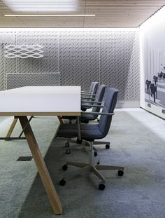 Minimalistic meeting room at Inlook Oy / Sistem Interior Architects Office Interior Design, Office Interiors, Interior Architects, Conference Room, Minimalist, Table, Projects, Furniture, Home Decor