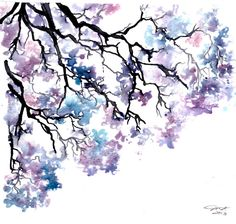 Purple and blue jacaranda tree watercolor painting by Jessica Durrant Watercolor Flowers, Watercolor Paintings, Tree Watercolour, Watercolours, Watercolour Tips, Watercolour Tattoos, Drawn Art, Tree Art, Painting Inspiration