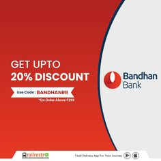 Good News for #BandhanBank user! Then, Get upto 20% Off on order from #RailRestro! Use Code: BANDHANRR #railrestro #orderfoodintrain #ecatering #railrestroapp #foodorderingapp #offeronfood #foodcoupon #discount 📲 Download RailRestro App to Order Food in Train