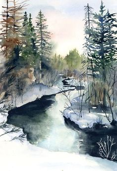 Ideas For Winter Landscape Watercolor Beautiful Watercolor Pictures, Watercolor Landscape Paintings, Watercolor Trees, Watercolor Water, Bird Paintings, Watercolor Artists, Watercolor Portraits, Winter Landscape, Landscape Art