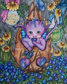 May Kristin Brox ( Adult Coloring, Coloring Books, Coloring Pages, Colouring, Markova, Prismacolor, Watercolors, Fairy, Dragon