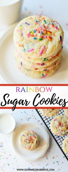 Why make regular sugar cookies when you can make Rainbow Sugar Cookies? They're the softest and most delicious sugar cookie ever! Sugar Cookie Recipe Easy, Easy Sugar Cookies, Easy Cookie Recipes, Cookie Desserts, Cupcake Recipes, Easy Desserts, Delicious Desserts, Dessert Recipes, Dinner Recipes