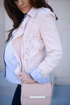 Coral lace and denim shirt