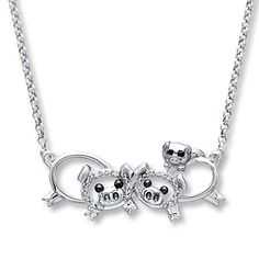 Pig Family Necklace Diamond Accents Sterling Silver too cute!!! Awwwww! This necklace is so cute!