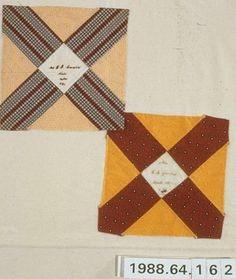 1855. 2 Blocks. Mary Barton collection. Iowa Historical Society. Iowa Proj & the Quilt Index.