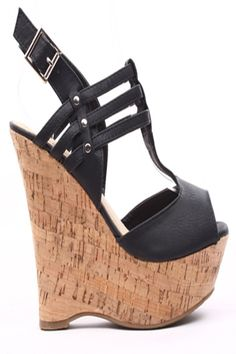 Soft faux leather upper in a platform wedge sandal style with a round peep toe, tonal stitching, strappy detail, ankle strap with adjustable buckle closure. Faux leather lining and footbed. 1 3/4 inch platform and 5 1/4 inch wedge heel. #Fashiongods #BeHot #shoes #Classy #heels #HighFashion #lollicouture