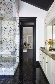 Bel Air Contemporary | Black Lacquer Design Hearth Tiles, Shop Lighting, Bel Air, Colorful Interiors, House Design, Contemporary, Black, Home Decor, Bathrooms