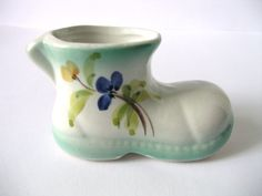 Porcelain Miniature Boot Vintage Shoe White by PortugueseWonders, $9.00  #porcelain #miniature #boot #shoe #porcelain #vitrine #blue #white #small #flowers #home #decor #vintage #ceramic #pottery #collectibles #collection