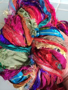 NEW Recycled Sari Silk Ribbon Yarn Eyelash Metallic Zari Fair Trade Gift Wrap Ribbon Felt Crochet Knit Scrapbook Tassels Fiber Art Supply, $10.00