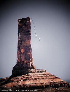 Steph Davis BASE jumps off Castleton Tower in Castle Valley, Utah