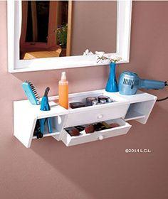 Curling Iron Holder, Blow Dryer Holder, Makeup Holder, Comb & Brush Holder, Bathroom Wall Vanity Organizer (White)